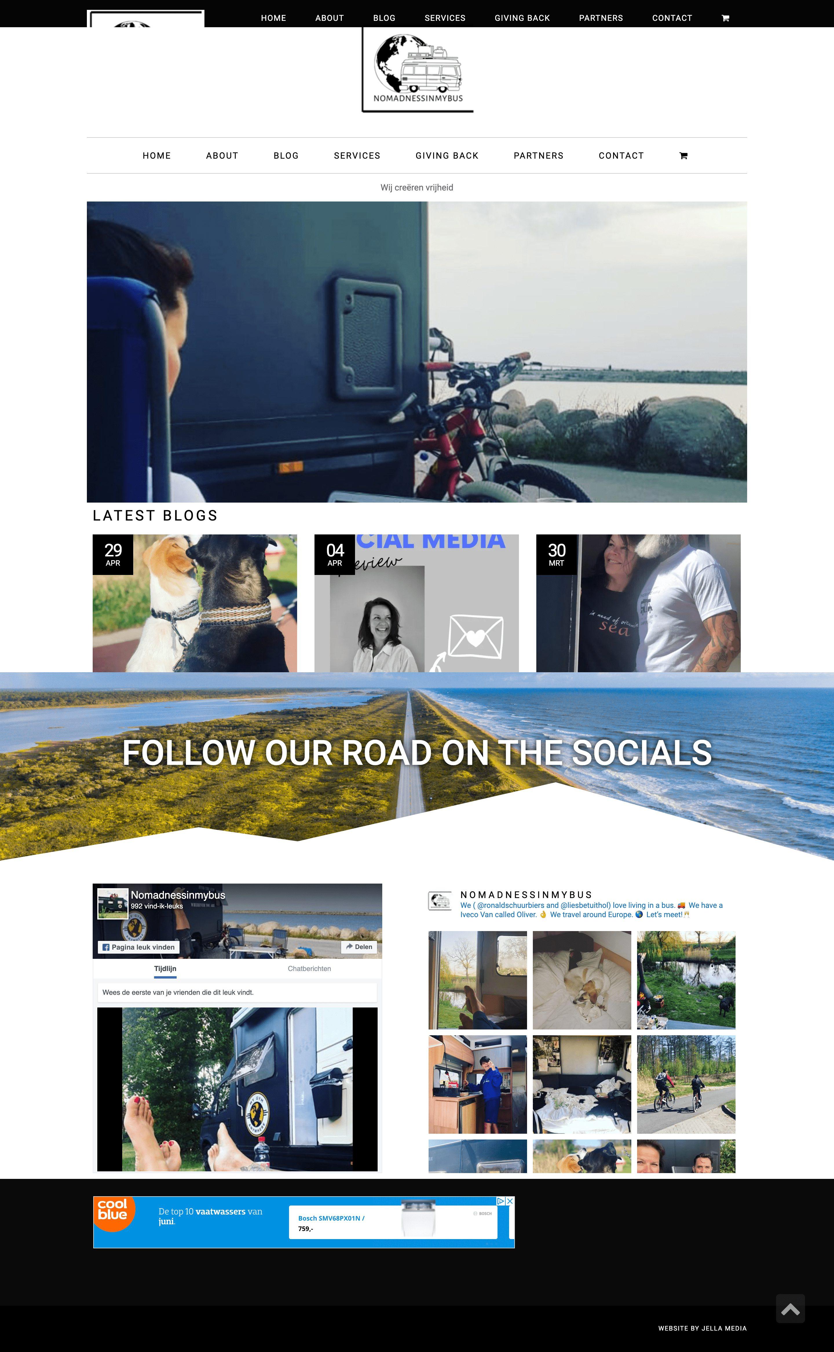 Nomadnessinmybus website door Jella media